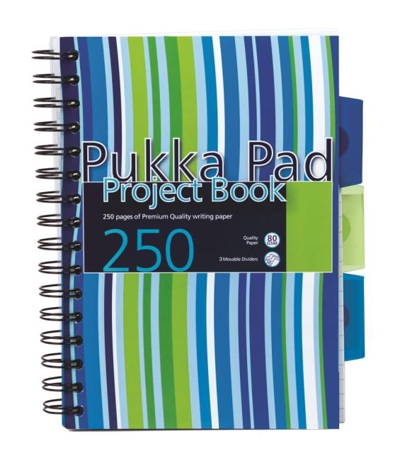 Pukka Pad projektový  blok  Stripes A5, 125 listů,proužky(modrá,zelená,bílá.žlutá)