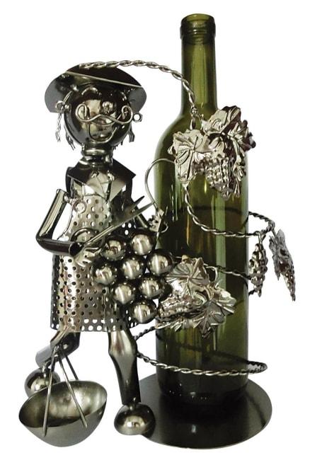 Kovový stojan na víno, motiv vinař s révou
