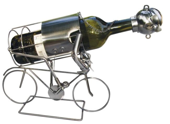 Kovový stojan na víno, motiv cyklista