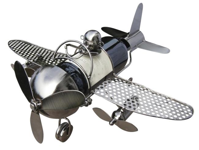 Kovový stojan na víno, motiv letadlo