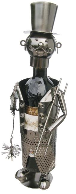 Kovový stojan na víno, motiv kominík