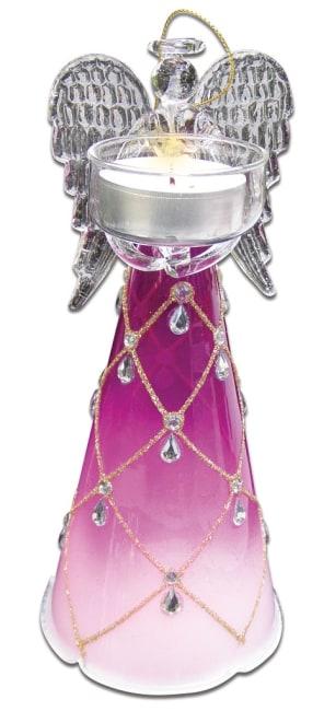 skleněný anděl 20cm,na 1 čajovou svíčku, růžový
