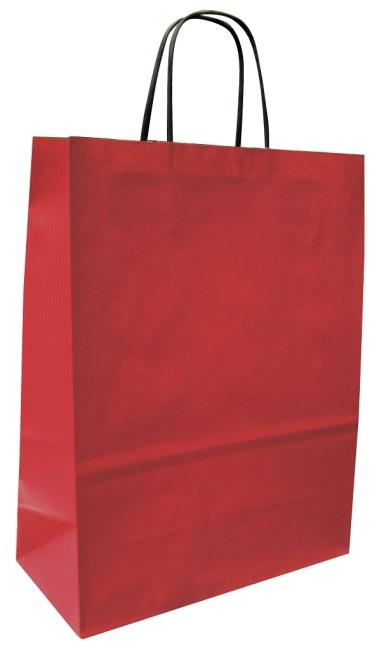 Papírová taška červená 32x14x42, kroucené ucho vroubkovaný vzhled Toptwist