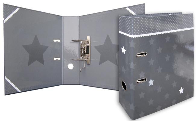 Designový pákový pořadač A4 7cm karton motiv Stars (šedý - šedé hvězdy)