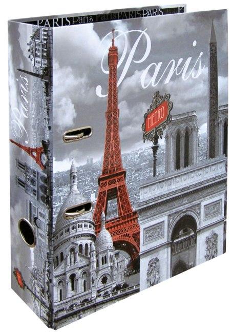 Designový pákový pořadač A4 7cm karton motiv Paříž