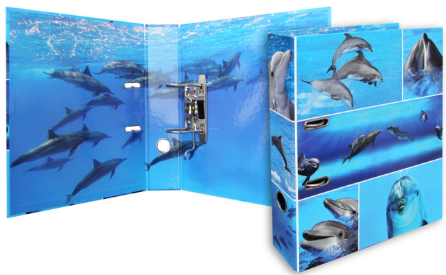 Designový pákový pořadač A4 7cm karton motiv Animals - delfíni