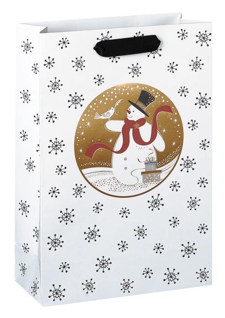 Taška vánoční dárková, bílá, potisk vločky, motiv sněhulák, 18 x 23 x 9cm
