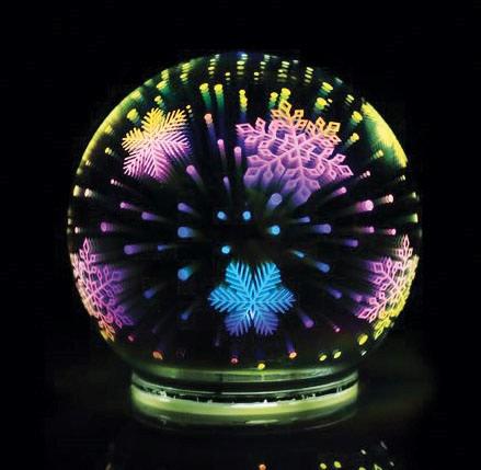 Skleněná svítící koule průměr 10cm,3D efekt,  (na 3 minitužkové baterie)