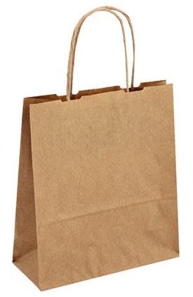 Papírová taška hnědá 19x8x21 kroucené ucho Toptwist