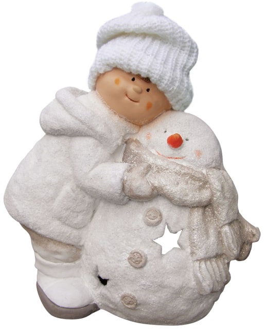 keramická panenka (39.5 x 20 x 41cm), kluk se sněhulákem
