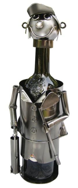 Kovový stojan na víno, motiv golfista, 13 x 11 x 22cm