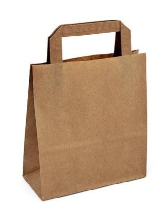 Papírová taška hnědá 18x8x22 s plochým uchem Topcraft