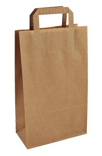 Papírová taška hnědá 22x10,5x36 s plochým uchem Topcraft