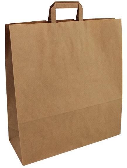 Papírová taška hnědá 45x17x48 s plochým uchem Topcraft