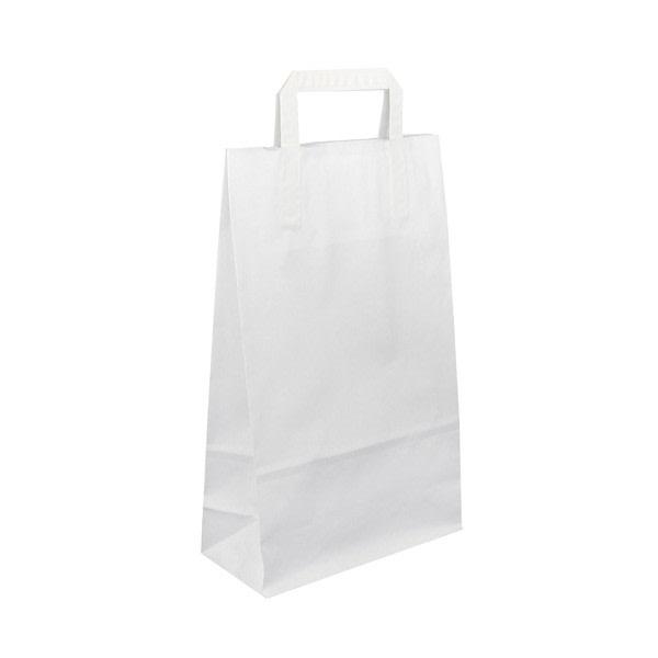 Papírová taška bílá 22x10,5x36 s plochým uchem Topcraft