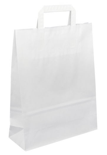 Papírová taška bílá 26x10x33 s plochým uchem Topcraft