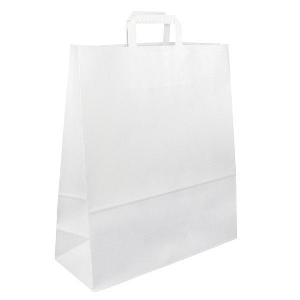 Papírová taška bílá 40x16x45 s plochým uchem Topcraft