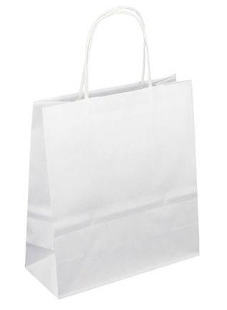Papírová taška bílá 19x8x21 kroucené ucho Toptwist