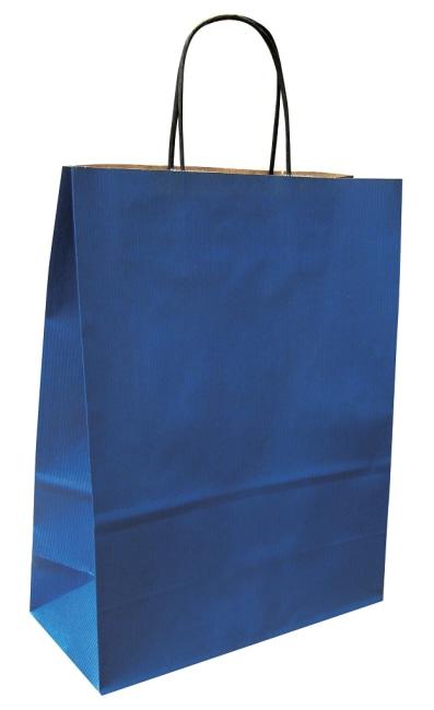 Papírová taška modrá 19x8x21 kroucené ucho vroubkovaný vzhled Toptwist
