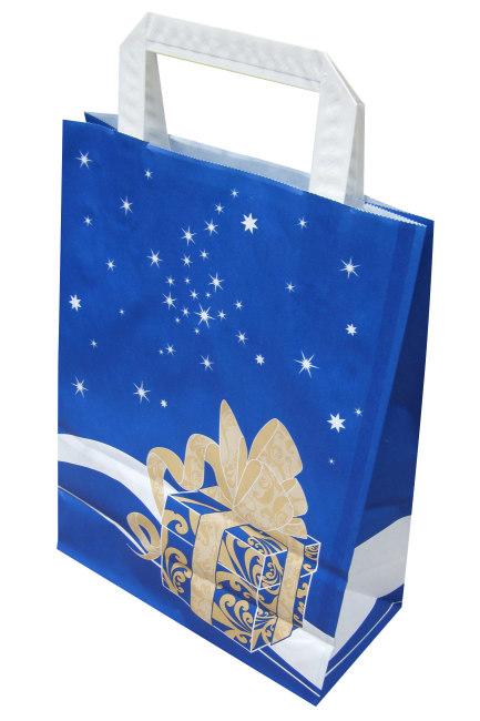 Papírová taška 20x10x28cm, modrá Weihnachtsgeschenk