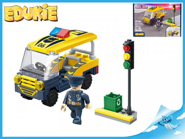 EDUKIE stavebnice policejní auto transporter se semaforem 69ks