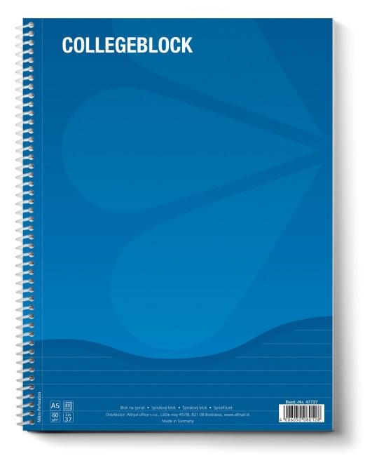 College blok A5 linkovaný, 80 listů, 70g/m2, modrý, (balení 10ks)