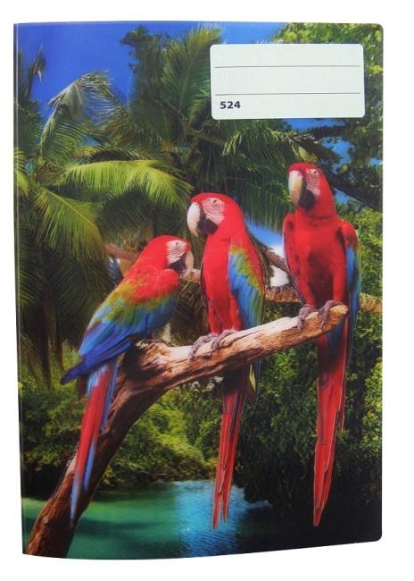 sešit 524 s 3D motivem,A5, 20 listů,linkovaný, motiv papoušci