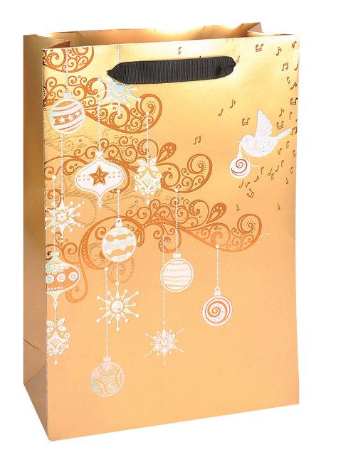 Taška vánoční dárková, zlatá, potisk,  18 x 23 x 9cm