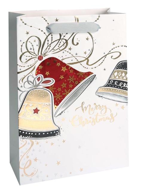 Taška vánoční dárková, bílá, potisk, průhledné okénko, 18 x 23 x 9cm