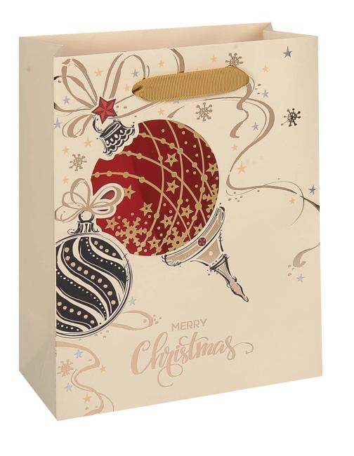 Taška vánoční dárková, béžová, potisk, průhledné okénko, 18 x 23 x 9cm