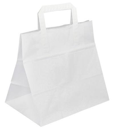 Papírová taška bílá 26x17x24 Takeaway s rozšířeným dnem