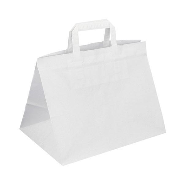 Papírová taška bílá 32 x 22 x 24 Takeaway s rozšířeným dnem