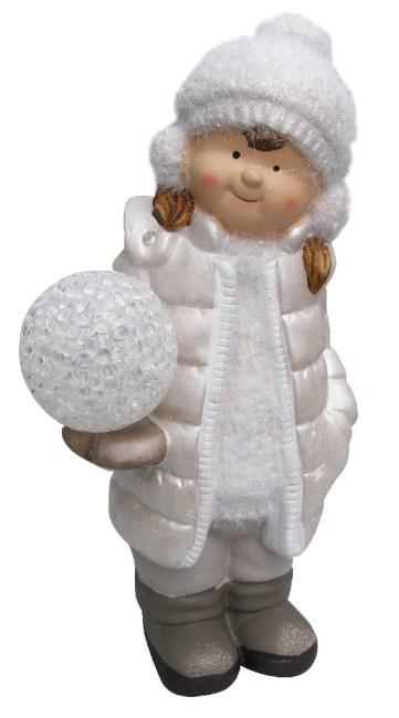 keramická panenka (11 x 10x 23cm),holčička s LED světlem, bílá bunda s kapucí
