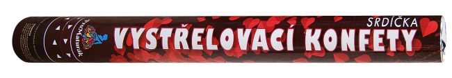 Vystřelovací konfety  srdíčka červená 60cm /KAPS