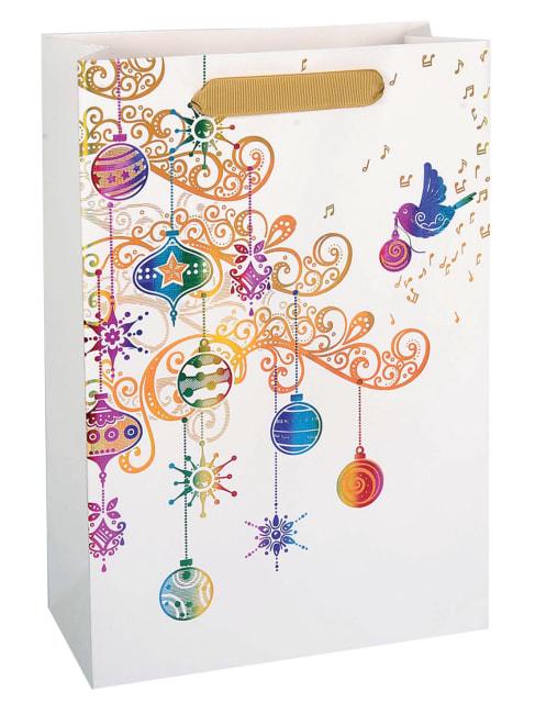 Taška vánoční dárková, bílá, potisk,  18 x 23 x 9cm
