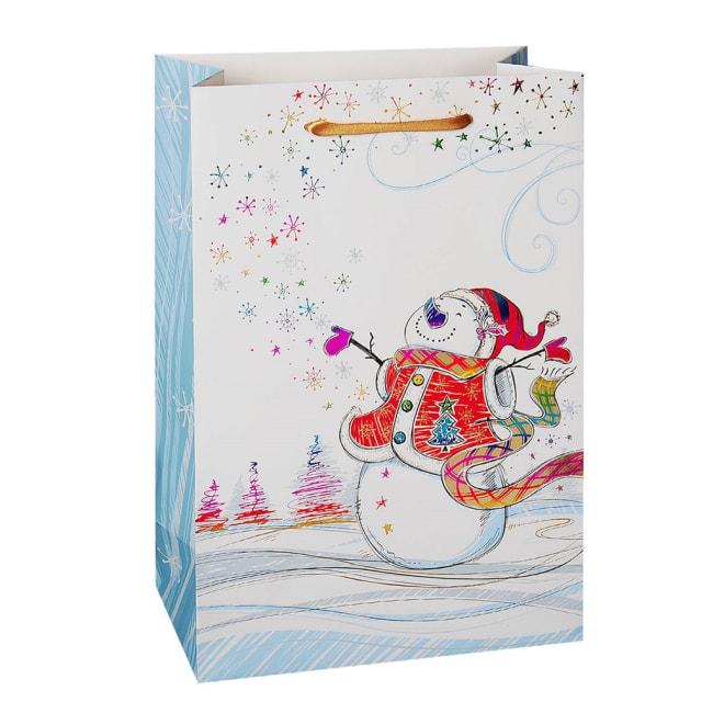 Vánoční dárková taška 22,5 x 10 x 33,5cm motiv sněhulák