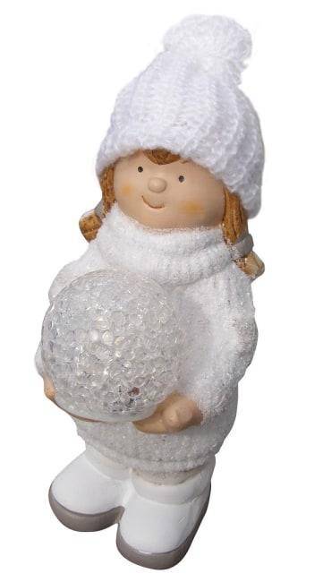 keramická panenka (11 x 8 x 17.5cm),holčička s LED světlem