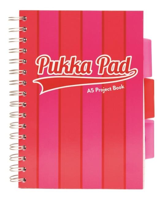 Pukka Pad projektový blok Pukka Stripe A5, 200 stran, linky 8 mm, růžový