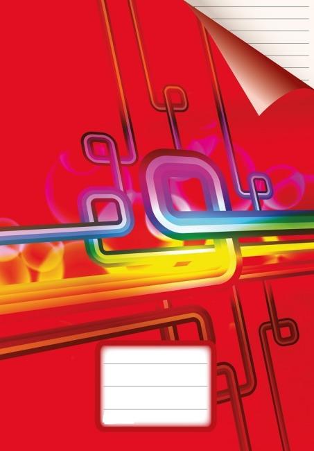sešit 464, A4, 60 listů, linky 8 mm, červený