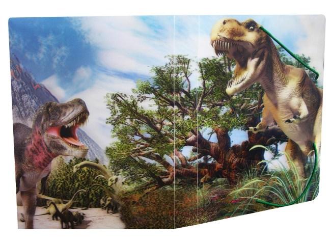 Krabice na sešity s gumou A5,motiv dinosauři,3D efekt
