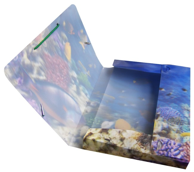 Krabice na sešity s gumou A5,motiv akvarium,3D efekt