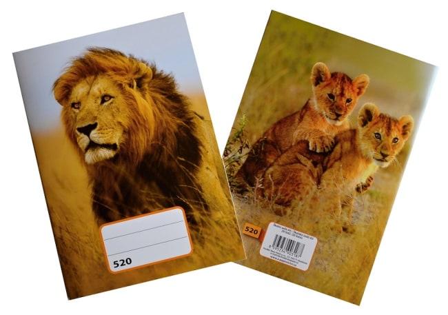 sešit 520,  A5, 20 listů, bez linek, motiv lev
