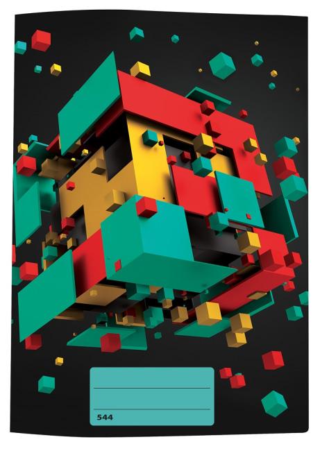 sešit 544 s 3D motivem, A5, 40 listů,linkovaný, motiv kostky