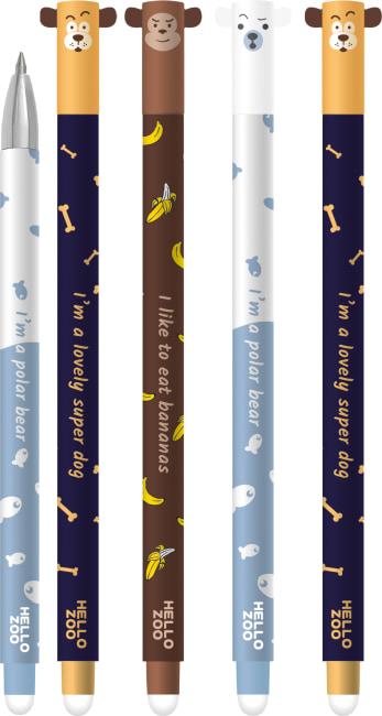 Roller gelový/gumovací M&G iErase Happy Zoo 0,5 mm ,mix motivů,náplň modrá, AKPB4475