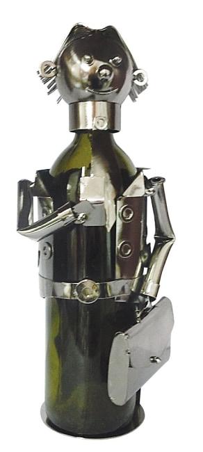 Kovový stojan na víno, motiv manažer