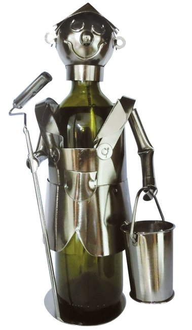 Kovový stojan na víno, motiv malíř pokojů