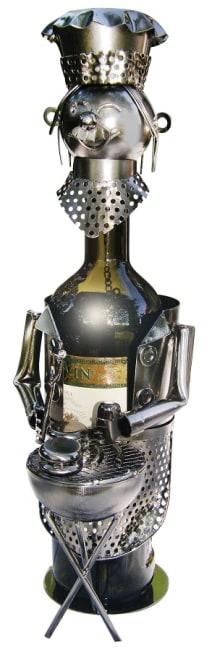 Kovový stojan na víno, motiv kuchař s grilem