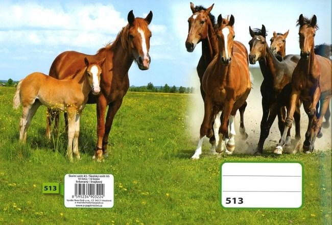 sešit 523, A5, 20 listů, linkovaný 12mm, motiv koně