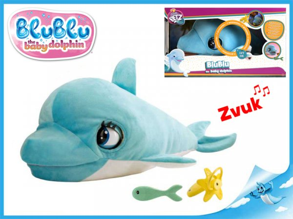 Blu Blu delfín plyšový 60cm na baterie se zvukem a doplňky 18m+
