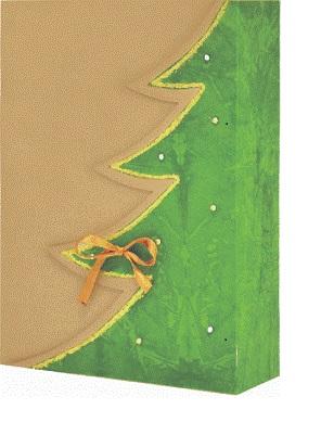 dárková krabička barva přírodní, motiv zelený strom, zlatý lem, zdobení bílé kamínky